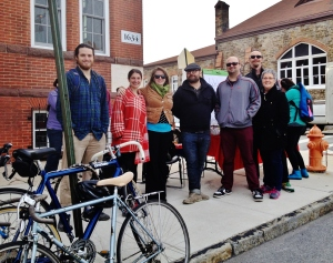 Members of the Greemount West community with cyclists and advocates. Photo: MO 2014